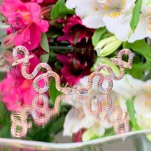Brinco Ear Cuff Serpente Colorida Rosê Semijóia