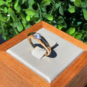 Anel Solitário Prata com Banho de Ouro 18 K