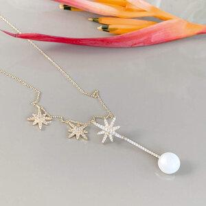 Colar Palito Estrelas com Pérola Banho de Ouro 18 K Semijóia