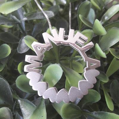 Colar Mandala Coração Fosco Prata 925 Com Banho de Ródio Branco