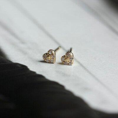 Brinco Ponto de Luz Coração Segundo Furo Prata com Banho de Ouro 18 K