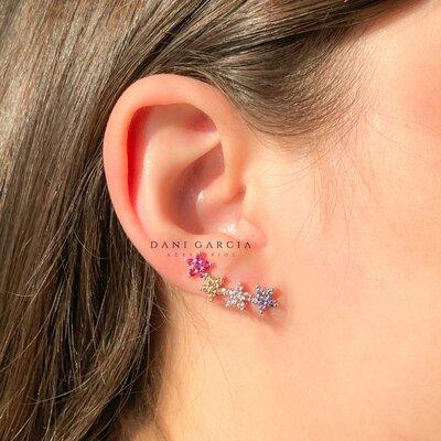 Brinco Ear Cuff Flores Coloridas