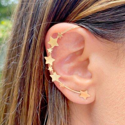 Brinco Max Ear Cuff Estrelas Banho de Ouro 18 K