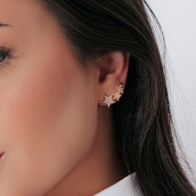 Brinco Ear Cuff Estrelas Banho de Ouro 18 K Semijóia