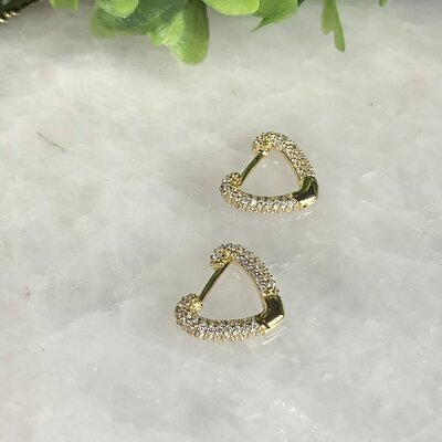 Argola Coração Cristal Prata com Banho de Ouro 18 K