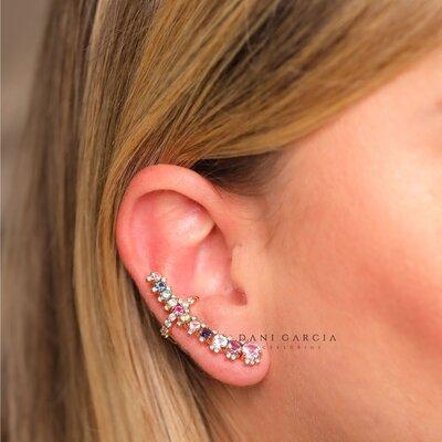 Brinco Ear Cuff Colorido com Piercing Dourado