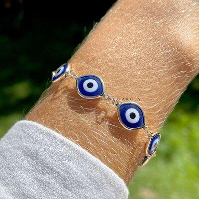 Pulseira Resina Olho Grego Azul Banho de Ouro 18 K