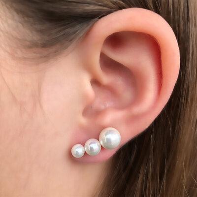 Brinco Ear Cuff Três Perolas Semijóia
