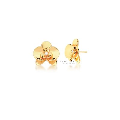 Brinco Orquídea Banho de Ouro 18 K