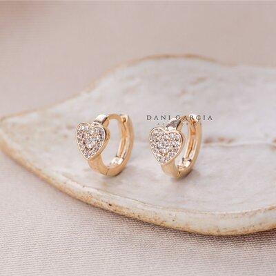 Mini Argola Coração Prata com Banho de Ouro 18 K