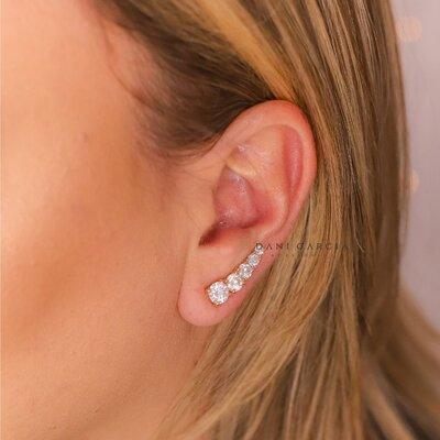 Brinco Ear Cuff Five Prata 925 Banho de Ouro 18 K