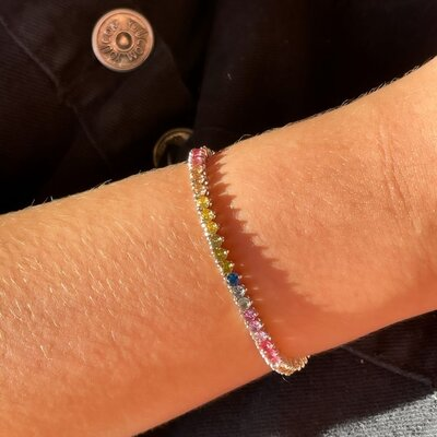 Pulseira Riviera Rainbow Ródio Branco Semijóia