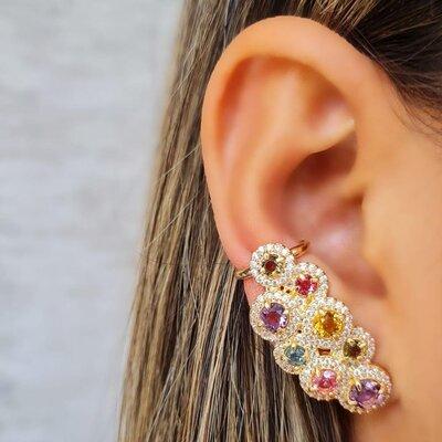Brinco Ear Cuff Colorido Bolas Coloridas Banho de Ouro 18 K Semijóia