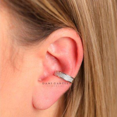 Falso Piercing Cravação Zircônias Prata 925