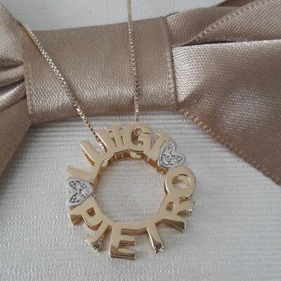 Colar Mandala Coração Cravejado Prata 925 Com Banho de Ouro 18 K
