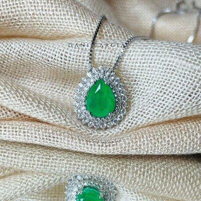 Colar Gota Esmeralda Fusion Luxo Prata 925