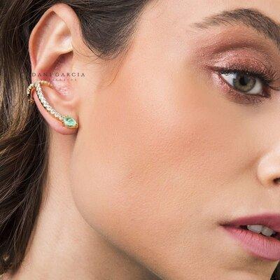 Brinco Ear Cuff Gota Colombiana Dourada