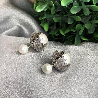 Brinco Inspiração Pérola e Flores Ródio Branco Semijóia