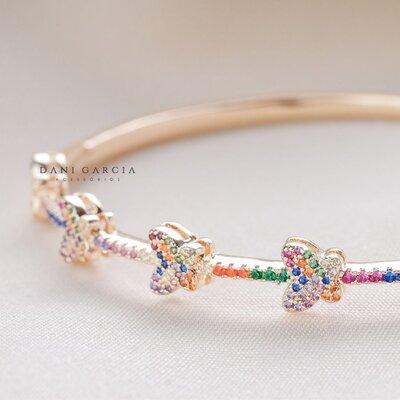 Bracelete Borboleta Colorida Prata com Banho de Ouro 18 K (cópia)