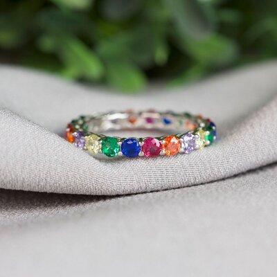 Aliança Zircônias Rainbow Prata 925