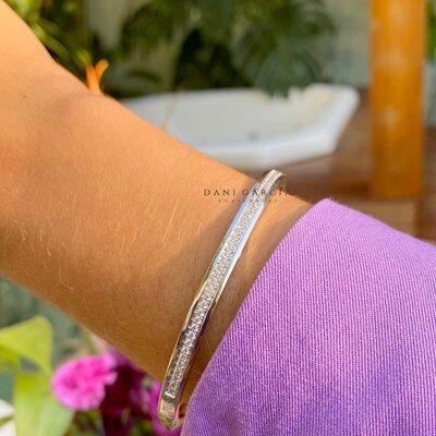 Bracelete Trilho Zircônias Ródio Branco Semijóia