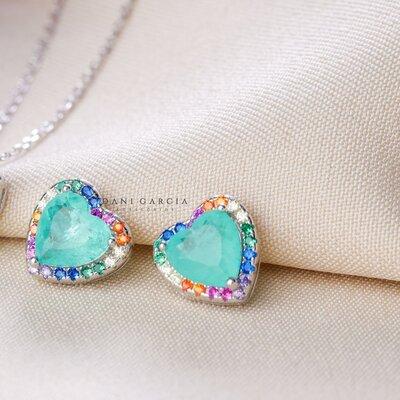 Brinco Coração Bordado Colorido Esmeralda Colombiana Prata 925