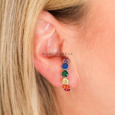 Brinco Ear Hook Corações Coloridos Prata 925