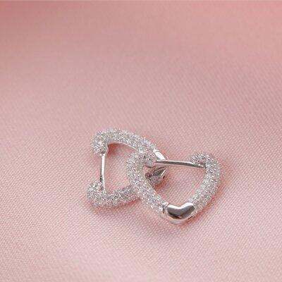 Argola Coração Cristal Prata 925
