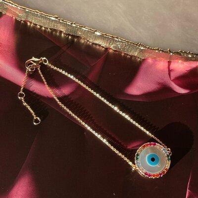 Pulseira Olho Grego Colorida Madrepérola Banho de Ouro 18 K