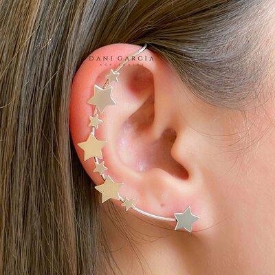 Brinco Max Ear Cuff Estrelas Ródio Branco