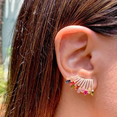 Brinco Ear Cuff Raios Coloridos Banho de Ouro 18 K Semijóia