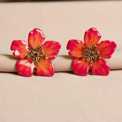 Brinco Flor Coral Borda Pink Pintado a Mão