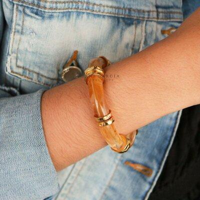 Bracelete Resina Caramelo Banho de Ouro 18 K