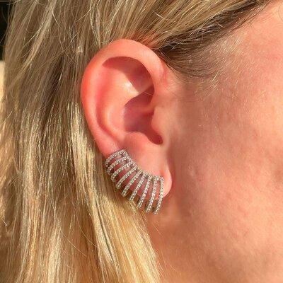Brinco Ear Cuff Onda Ródio Branco Semijóia
