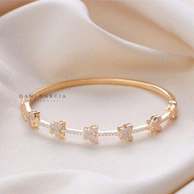 Bracelete Borboleta Prata com Banho de Ouro 18 K