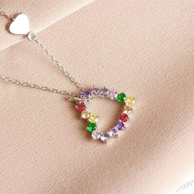 Colar Coração Rainbow Prata 925