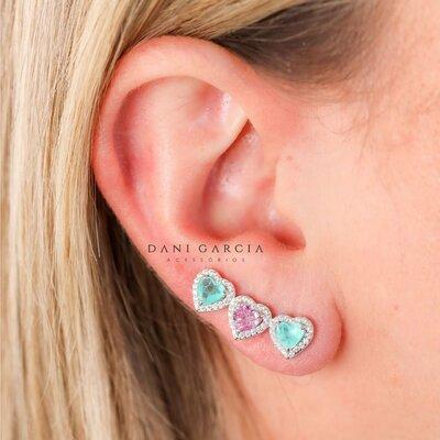 Brinco Ear Cuff Corações Kunzita e Colombiana Prata 925