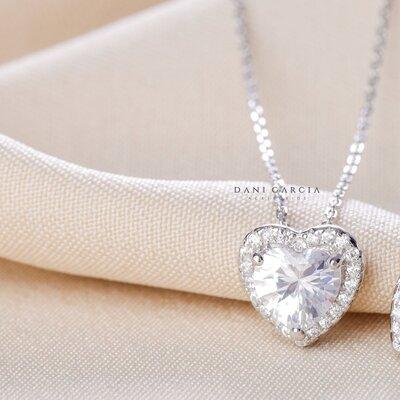 Colar Coração Bordado Prata 925