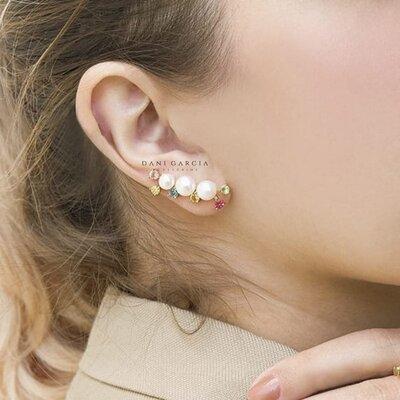 Ear Cuff Pérolas com Zircônias Coloridas