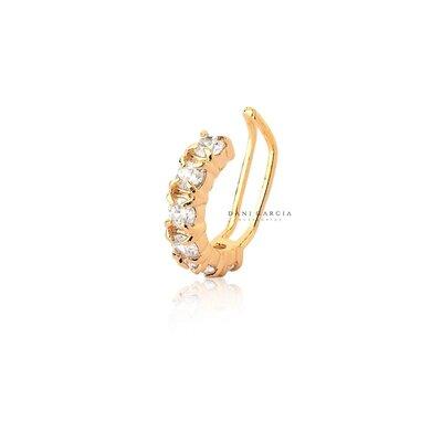 Falso Piercing Cristal Banho de Ouro 18 K Semijóia