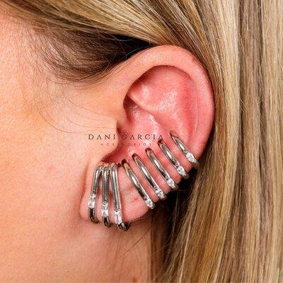 Brinco Ear Hook Triplo Ródio Branco