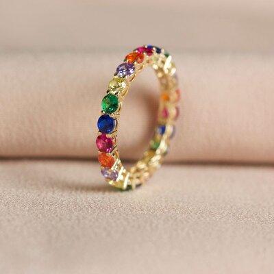 Aliança Zircônias Rainbow Prata com Banho de Ouro 18 K