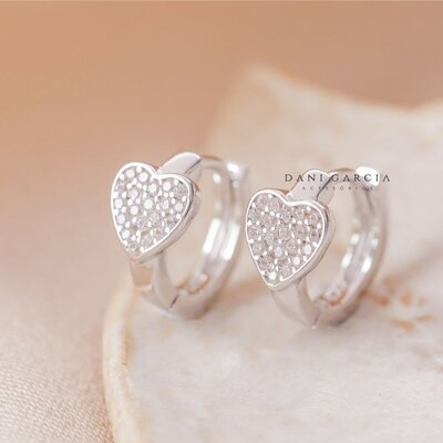 Mini Argola Coração Prata 925