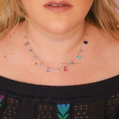 Colar Gotas Coloridas e Estrelas Prata 925