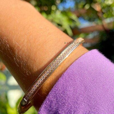 Bracelete Trilho Zircônias Banho de Ouro 18 K
