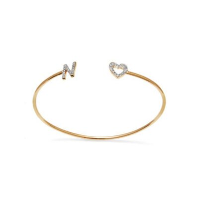 Bracelete Personalizado Letra Prata e Banho de Ouro 18 K