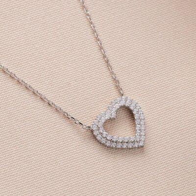 Colar Coração Cristal Prata 925