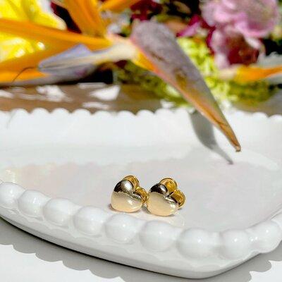 Argola Coração Liso Banho de Ouro 18 k Semijóia