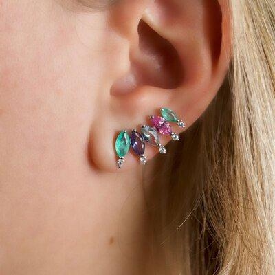 Brinco Ear Cuff Navete Colors Prata 925