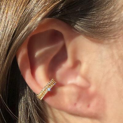 Falso Piercing Fileira Dupla de Zircônias Banho de Ouro 18 K Semijóia